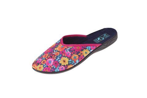 Pantofle BIO Adanex 24297 kapcie z krytymi palcami w kwiaty kolorowe
