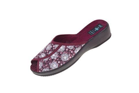 Pantofle kapcie na koturnie BIO Adanex 24151 burgund