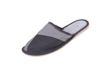 Kapcie skórzane pantofle profilowane szaro czarne
