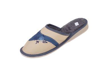 Kapcie damskie pantofle ocieplane żółto niebieskie