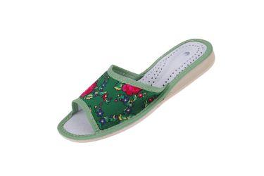 """Pantofle skórzane profilowane góralskie folk """"tybytki"""" zielone"""