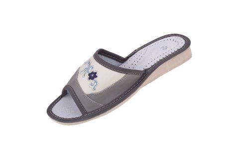 Pantofle skórzane damskie szaro kremowe