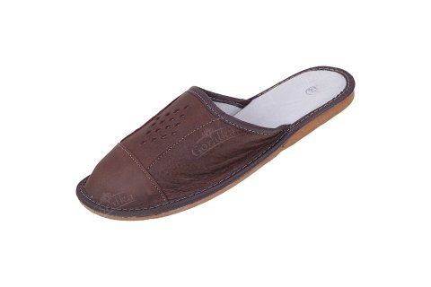 Pantofle skórzane męskie profilowane romby średni brąz