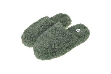 Pantofle wełniane wsuwane ciepłe merynos zielone