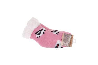 Skarpety antypoślizgowe ocieplane 65% wełny owieczki różowe jasne r. 14-19