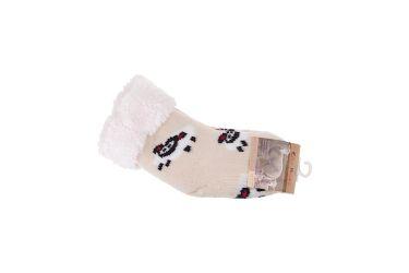 Skarpety antypoślizgowe ocieplane 65% wełny owieczki kremowe r. 14-19