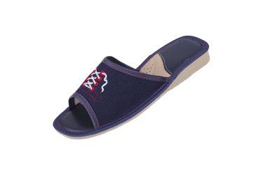 Pantofle damskie kapcie jeans sznurówki czerwone oczka