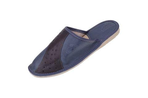 Kapcie męskie pantofle ekologiczne z wyściółką granatowo-czarne