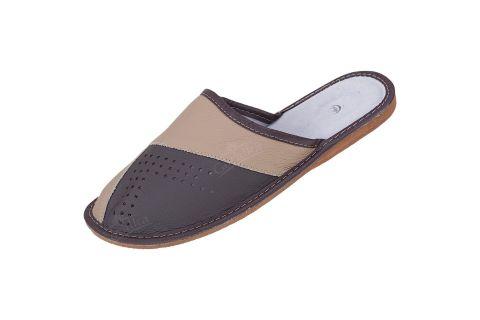 Kapcie skórzane pantofle profilowane beżowo-brązowe