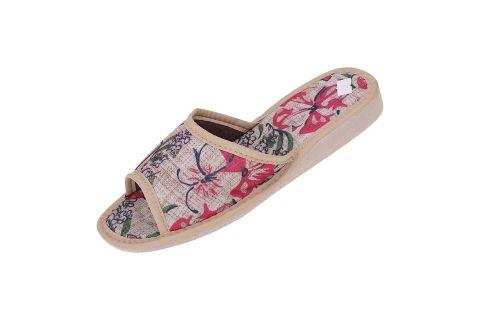 Pantofle tekstylne kapcie folk beżowe w kwiaty