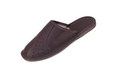 Kapcie męskie pantofle z wyściółką pod piętą brązowe
