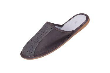 Kapcie skórzane pantofle profilowane popielato-brązowe