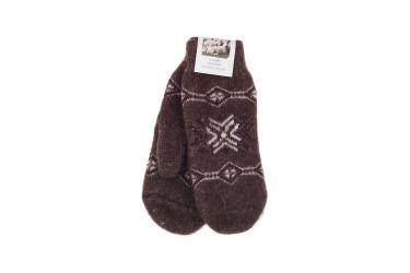 Rękawiczki wełniane z angory męskie brązowe z gwiazdą
