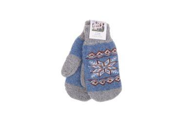 Rękawiczki wełniane z angory męskie szaro-niebieskie z gwiazdą