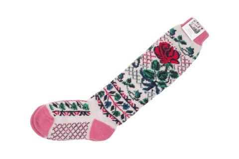 Podkolanówki wełniane z naturalnej wełny z angory beżowo-różowe z różą