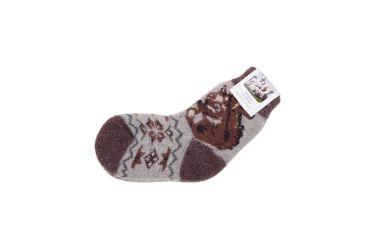 Skarpety wełniane z naturalnej wełny z angory szaro-brązowe z wiewiórką r. 25-28