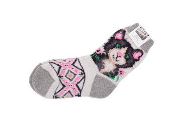 Skarpety wełniane z angory damskie szaro-różowe z kotem