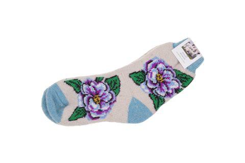 Skarpety wełniane z angory damskie beżowo-niebieskie z fioletowym kwiatkiem