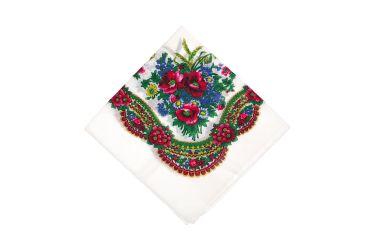 Chusta góralska bawełniana bez frędzli biała w kwiaty z kłosami