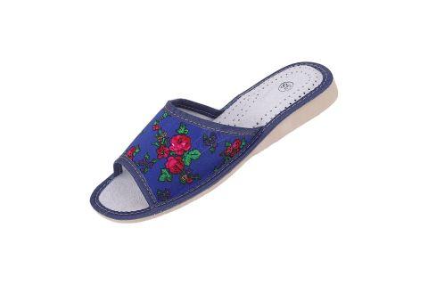 Pantofle skórzane profilowane góralskie folk tybytki niebieskie