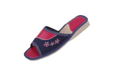 Pantofle z wyściółką kapcie jeans granatowo czerwone w kwiatki