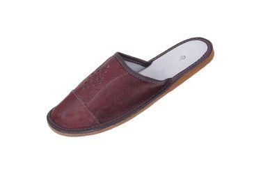 Pantofle skórzane męskie profilowane romby wiśniowe