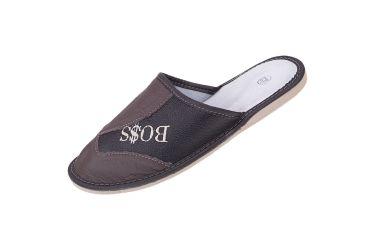 Kapcie skórzane pantofle profilowane brązowo czarne BOSS