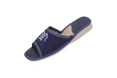 Pantofle z wyściółką kapcie jeans sznurówki niebieskie oczka