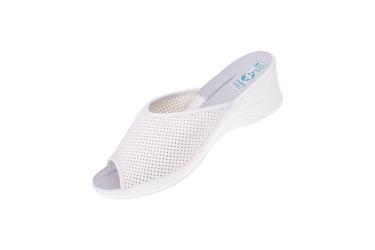 Klapki na koturnie pantofle BIO Adanex 19010 szersze białe