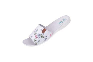Klapki pantofle z odkrytymi palcami BIO Adanex 24884 białe w kwiaty