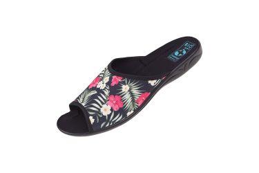 Pantofle klapki z odkrytymi palcami BIO Adanex 24696 czerwone kwiaty