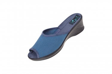 Klapki na koturnie pantofle BIO Adanex 24820 szersze niebieskie