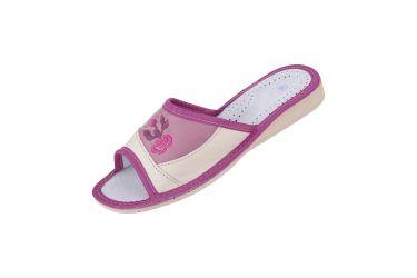 Pantofle skórzane góralskie profilowane kremowo fioletowe z kwiatkiem