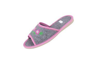 Kapcie filcowe pantofle góralskie z haftem niskie różowe