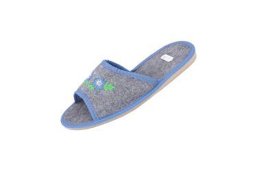 Kapcie filcowe pantofle góralskie z haftem niskie niebieskie