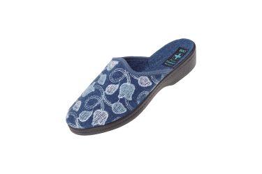 Pantofle na koturnie kapcie filcowe 25384 BIO Adanex niebieskie