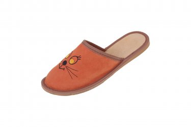 Pantofle skórzane kapcie profilowane kotki kotek rudy