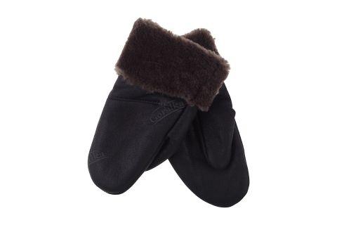 Rękawiczki skórzane ocieplane z jednym palcem licowe ciemny brąz z przeszyciem