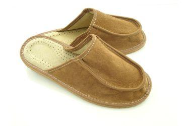 Szerokie tęgie kapcie skórzane męskie na spuchnięte stopy
