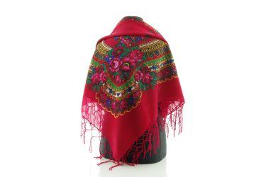 Chusta góralska bawełniana folk obrus 125 cm z frędzlami czerwona