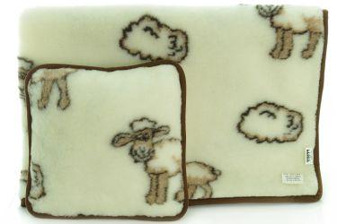 Komplet wełniany merynos koc 100x140 poduszka 40x40 owieczki