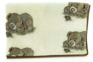 Koc wełniany naturalna wełna merynos 100x145 niedźwiadek