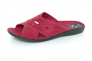 Klapki pantofle z odkrytymi palcami BIO Adanex bordo