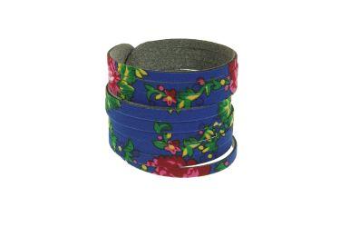 Bransoletka góralska folk stylizowana z materiału góralskiego niebieska