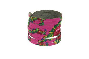 Bransoletka góralska folk stylizowana z materiału góralskiego różowa