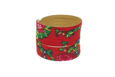 Bransoletka góralska folk stylizowana z materiału góralskiego czerwona