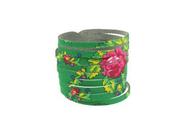 Bransoletka góralska folk stylizowana z materiału góralskiego zielona