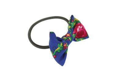 Gumka do włosów z kokardą z materiału góralskiego folk niebieska