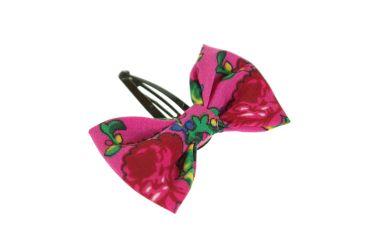 Spinka do włosów kokarda z materiału góralskiego folk różowa