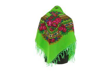 Chusta góralska bawełniana folk obrus 125 cm z frędzlami zielona jaskrawa